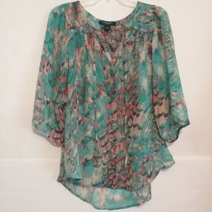 Nine West Tops - Nine West Sheer Watercolor Blouse Medium